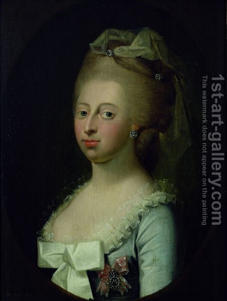 Portrait of Queen Caroline Mathilde (1751-1775) by Herman Koefoed - Reproduction Oil Painting