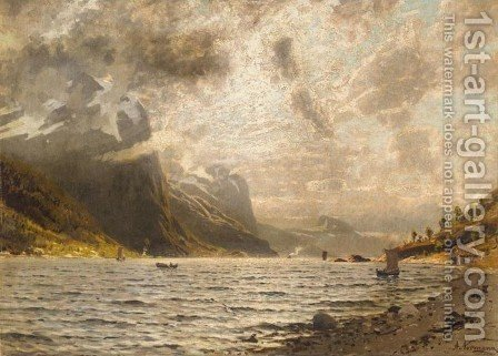 Norwegian Fjord (En Norsk fjord) I by Adelsteen Normann - Reproduction Oil Painting