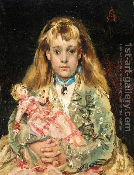L'Enfant a la poupee by Alfred Stevens - Reproduction Oil Painting