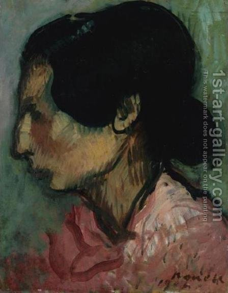 Study of a Gypsy (Estudi (Gitana) by Isidro Nonell - Reproduction Oil Painting
