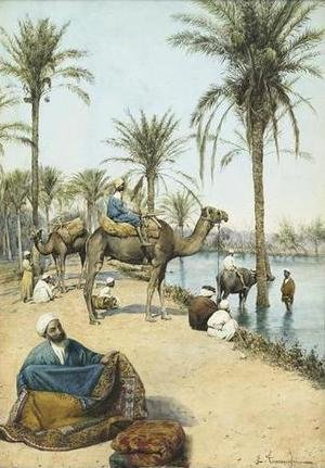 Famous paintings of Camels: The Carpet Seller by the Nile (Le marchand de tapis au bord du Nil)