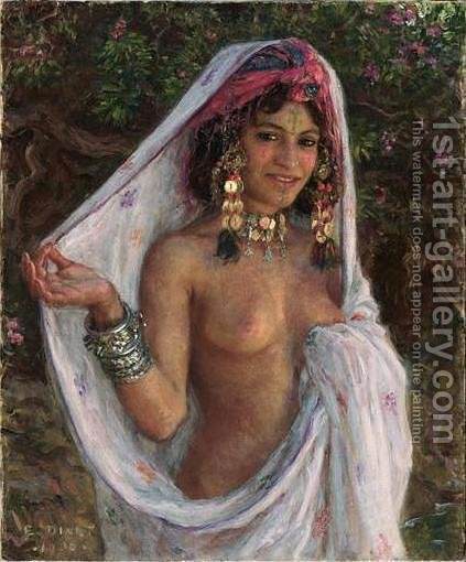 Young Woman with Veil and Jewels (La baigneuse aux bijoux) by Alphonse Etienne Dinet - Reproduction Oil Painting