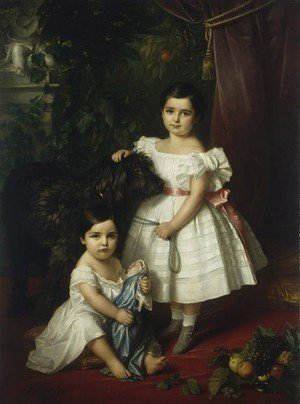 Portrait of Mary Rosa and Rosa Mary Caroline Kronenberg with a Dog