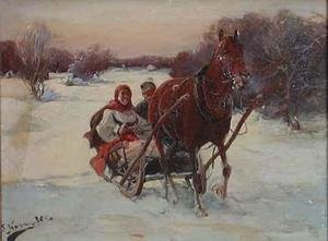 Reproduction oil paintings - J. Konarski - Sledge Ride