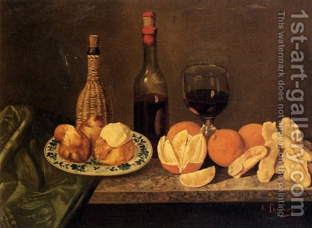 Still Life With Fruit And Oriental China I by Adolphe Phalipon - Reproduction Oil Painting