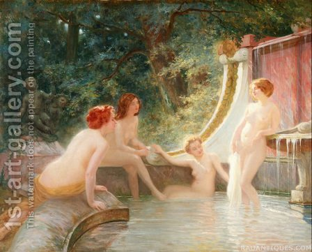Bathers in a Fountain by Albert-Auguste Fourie - Reproduction Oil Painting