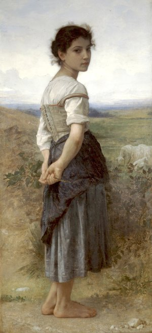 Famous paintings of Clouds & Skyscapes: Jeune Bergere (Young Shepherdess)