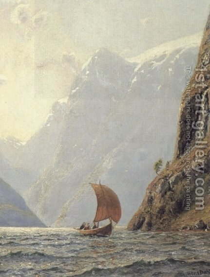Sailing in a Fjord by Hans Dahl - Reproduction Oil Painting