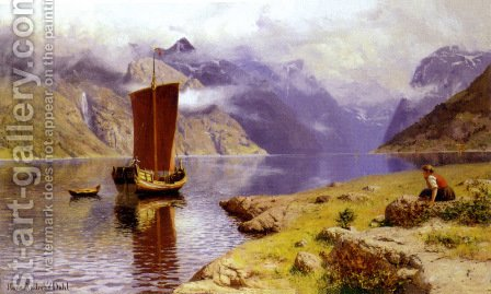 Awaiting his Return by Hans Dahl - Reproduction Oil Painting