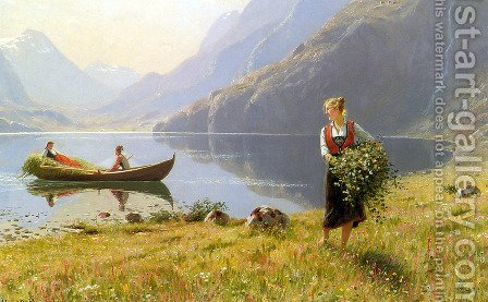 On The Banks of the Fjord by Hans Dahl - Reproduction Oil Painting