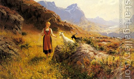 An Alpine Landscapewith a Shepherdess and Goats by Hans Dahl - Reproduction Oil Painting