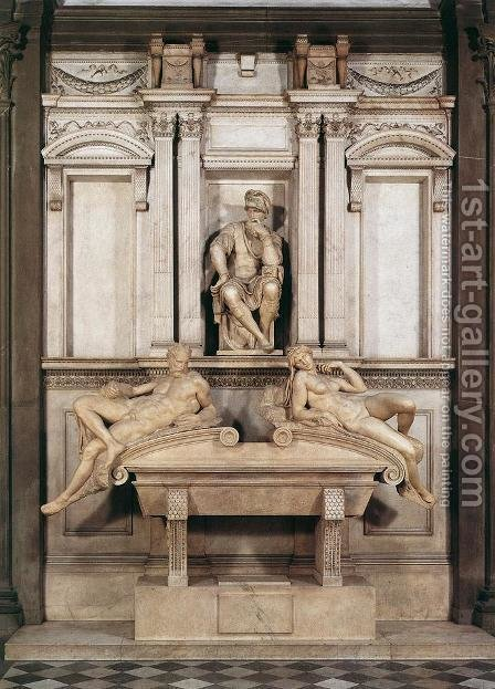 Tomb of Lorenzo de Medici by Michelangelo - Reproduction Oil Painting