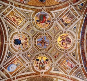 Reproduction oil paintings - Raphael - The Stanza della Segnatura Ceiling [detail: 1] I