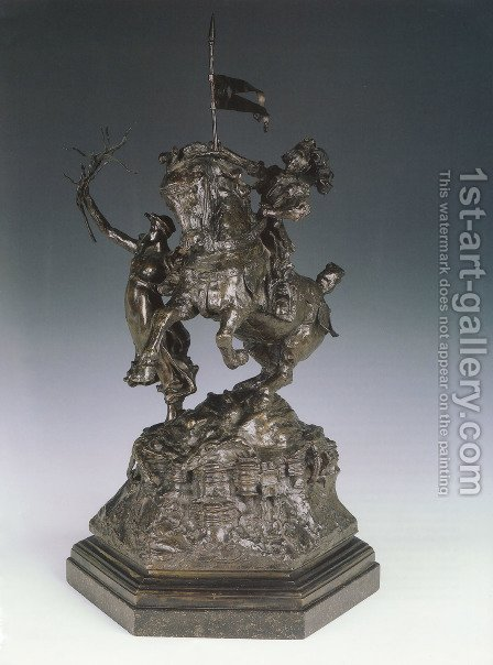 St George and the Dragon, Victory Leading: sketch-model for a proposed War Memorial by Alfred Gilbert - Reproduction Oil Painting