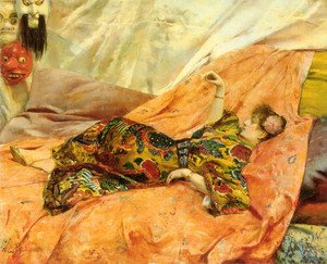 A Portrait of Sarah Bernhardt, reclining in a chinois interior