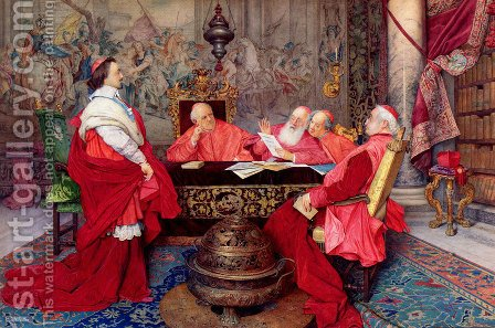Cardinal Richelieu And His Council by Guiseppe Signorini - Reproduction Oil Painting
