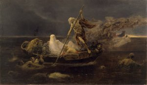 Famous paintings of Nature Spirits: La Barca de Caronte (The Barque of Charon)
