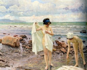 Famous paintings of Clouds & Skyscapes: Badende Kvinder (The Bathers)