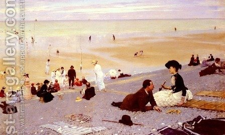 Sur Les Galets (On the Shingle) (or Le Treport) by Albert Aublet - Reproduction Oil Painting