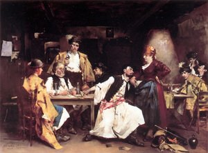 Famous paintings of Furniture: In the tavern