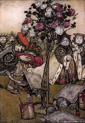 Reproduction oil paintings - Arthur Rackham - Alice in Wonderland: The Queen's Croquet Ground