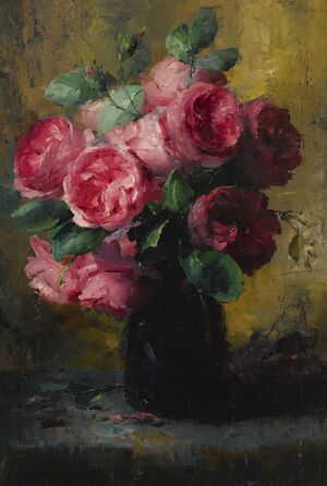 Famous paintings of Vases: Pink Roses In A Vase