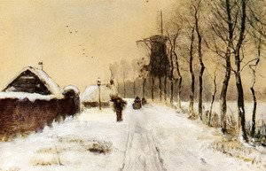 Wood Gatherers On A Country Lane In Winter