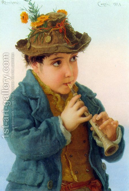 The Little Savoyards (or One of a pair) I by Adriano Bonifazi - Reproduction Oil Painting