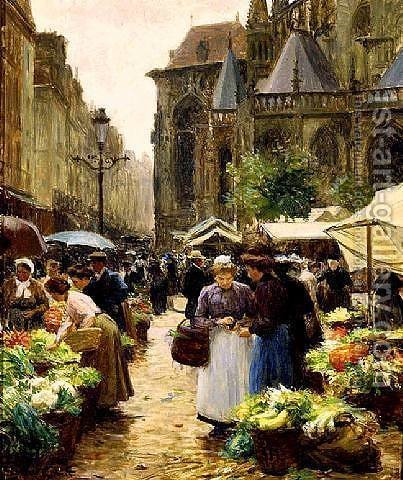 Victor-Gabriel Gilbert: Market in Dieppe - reproduction oil painting