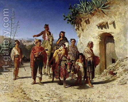 A Gypsy Family on the Road, c.1861 by Achille Zo - Reproduction Oil Painting