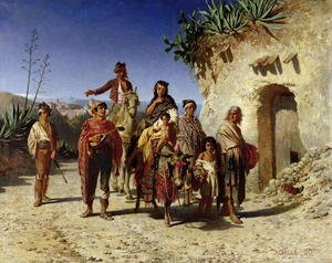 Famous paintings of Horses & Horse Riding: A Gypsy Family on the Road, c.1861