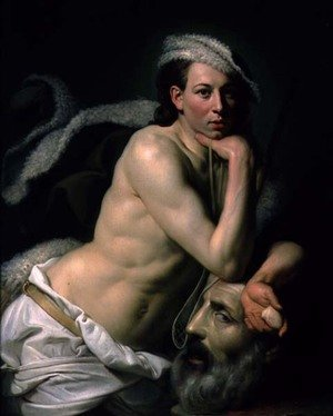 Rococo painting reproductions: Self Portrait as David with the Head of Goliath, 1756