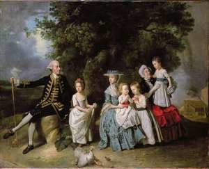 Rococo painting reproductions: Group Portrait of the Colmore Family