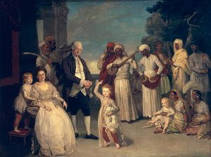 Rococo painting reproductions: Sir Elijah and Lady Impey and Their Three Children