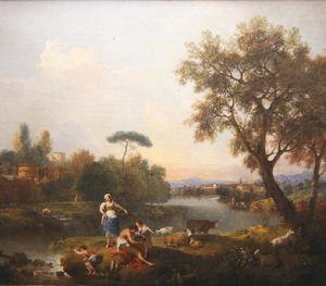 Rococo painting reproductions: Landscape with a Boy Fishing, c.1740-50