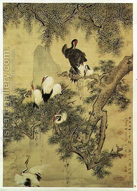 Eight Red-Crested Herons in a Pine Tree, 1754 by Hua Yan - Reproduction Oil Painting