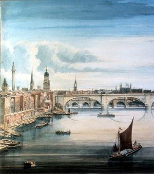 Gideon Yates reproductions - West view of New London Bridge and Old London Bridge, 1830