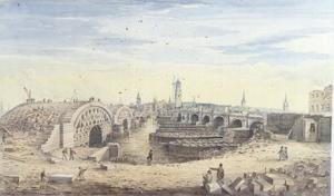 Gideon Yates reproductions - Construction of the new London Bridge alongside the old London Bridge, 1823