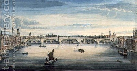 Gideon Yates: West view of New London Bridge and Old London Bridge, 1830 2 - reproduction oil painting