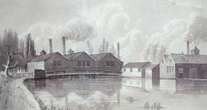 Reproduction oil paintings - Gideon Yates - Copper Mills on the Wandle at Garrett, 1825