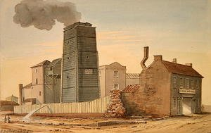 Reproduction oil paintings - Gideon Yates - View of Clink Street Waterworks, Southwark, 1826