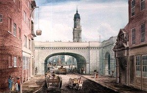 Reproduction oil paintings - Gideon Yates - Lower Thames Street with the Entrance to Fishmongers' Hall, 1831