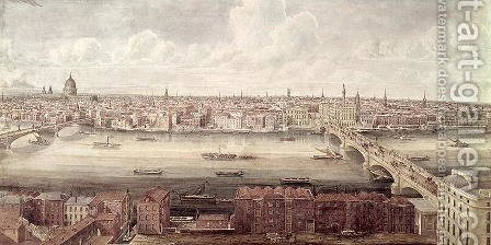 Panoramic view of London looking north between Southwark Bridge and London Bridge, c.1831