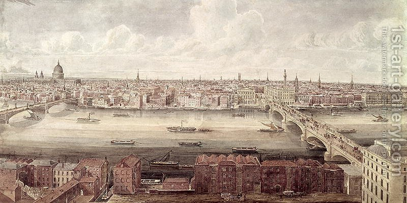 Huge version of Panoramic view of London looking north between Southwark Bridge and London Bridge, c.1831