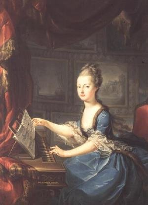 Rococo painting reproductions: Archduchess Marie Antoinette Habsburg-Lothringen (1755-93) at the spinnet, fifteenth child of Empress Maria Theresa of Austria (1717-80) and Emperor Francis I (1708-65) wife of Louis XVI of France (1754-93)