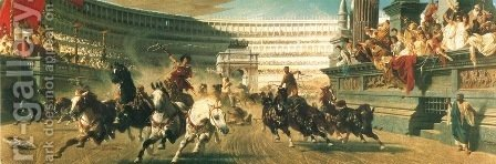 The Chariot Race, c.1882 by Alexander von Wagner - Reproduction Oil Painting