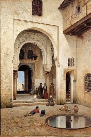 Pre-Raphaelites painting reproductions: A courtyard in Alhambra, 1889