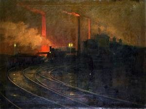 Futurism painting reproductions: The Steelworks, Cardiff at Night, 1893-97