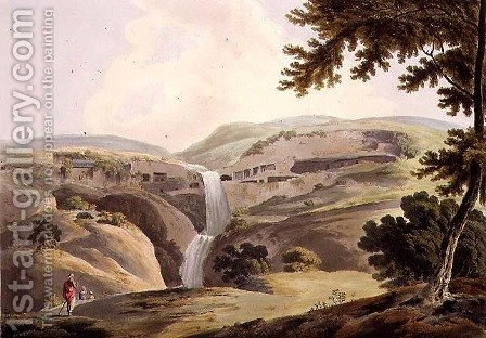 The Mountain of Ellora, 3rd view, plate III from Part 5 of 'Oriental Scenery', engraved by Thomas Daniell (1749-1840) pub. 1803 by (after) Wales, James - Reproduction Oil Painting
