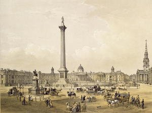 Neo-Classical painting reproductions: Trafalgar Square, with The National Gallery and St. Martin's Church, engraved by Thomas Picken (fl.1838-d.1870) pub. 1852 by Lloyd Bros. & Co.